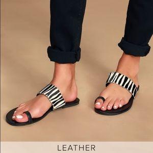 Lulus NWT Leather Tessa Zebra Calf Hair Sandals